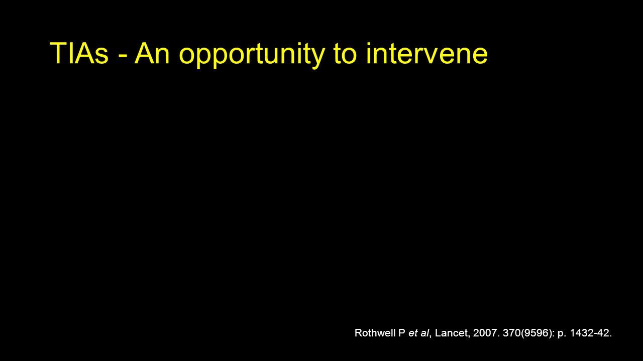 TIAs - An opportunity to intervene Rothwell P et al, Lancet, 2007. 370(9596): p. 1432-42.