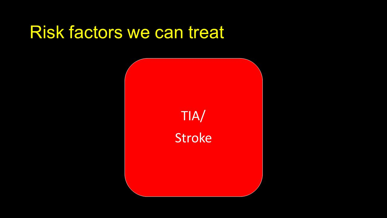 Risk factors we can treat TIA/ Stroke