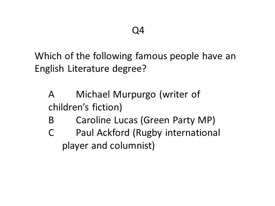 Q4 Which of the following famous people have an English Literature degree.
