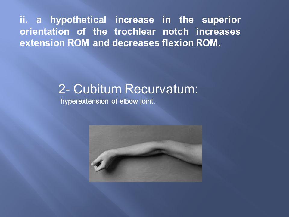 2- Cubitum Recurvatum: hyperextension of elbow joint.