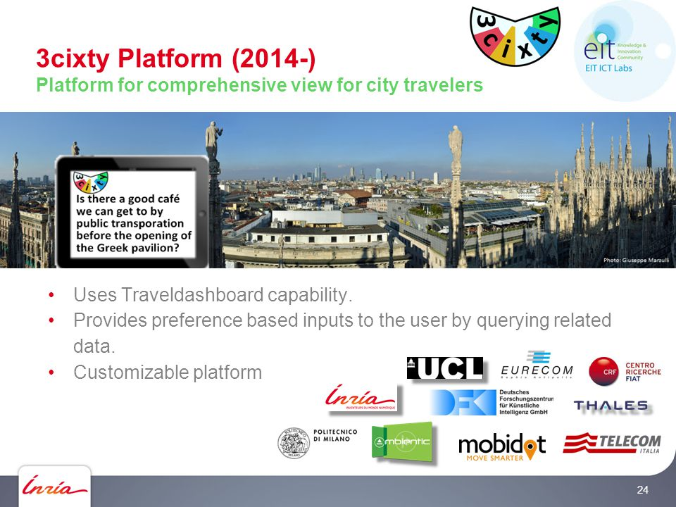 3cixty Platform (2014-) Platform for comprehensive view for city travelers Uses Traveldashboard capability.