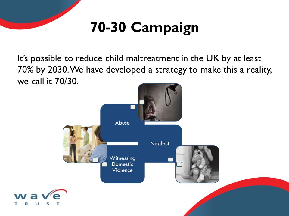 70-30 Campaign It's possible to reduce child maltreatment in the UK by at least 70% by 2030.