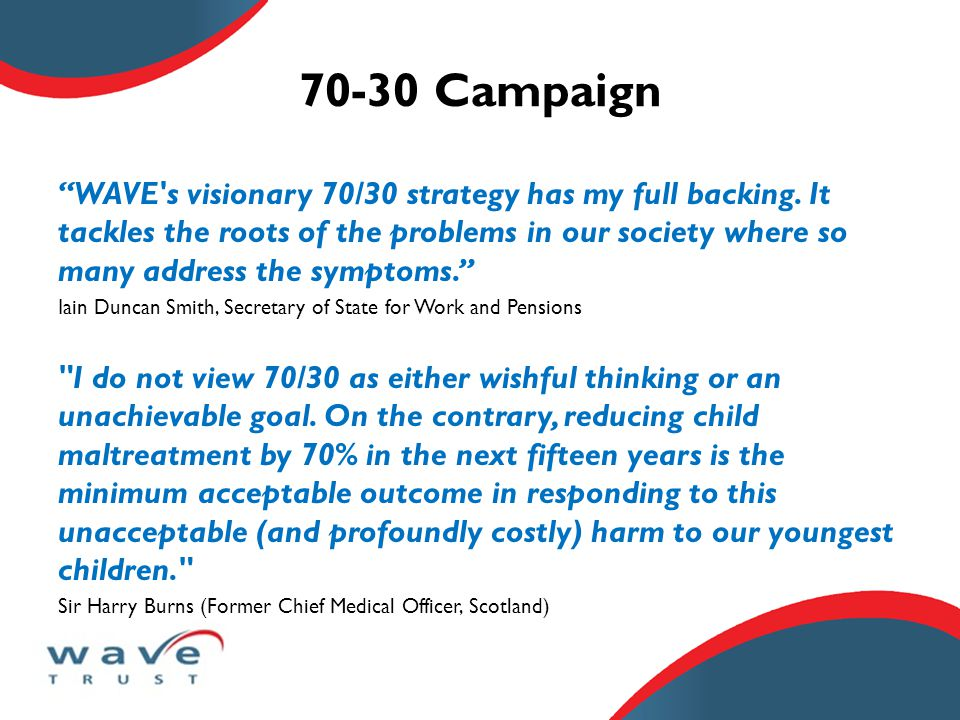 70-30 Campaign WAVE s visionary 70/30 strategy has my full backing.