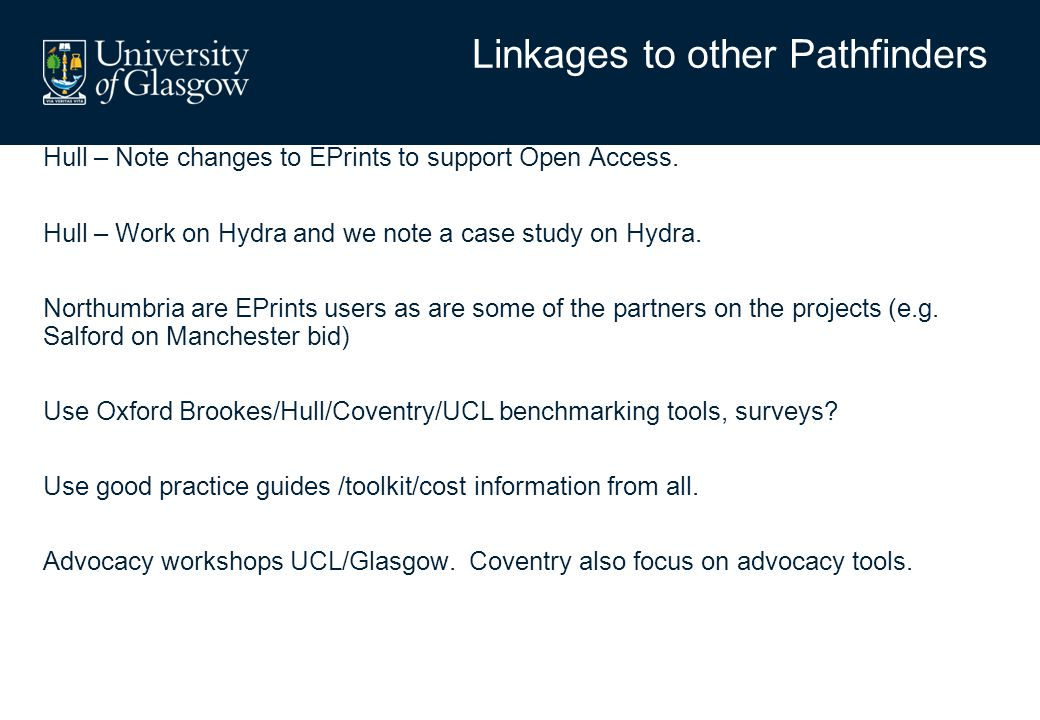 Hull – Note changes to EPrints to support Open Access. Hull – Work on Hydra and we note a case study on Hydra. Northumbria are EPrints users as are so