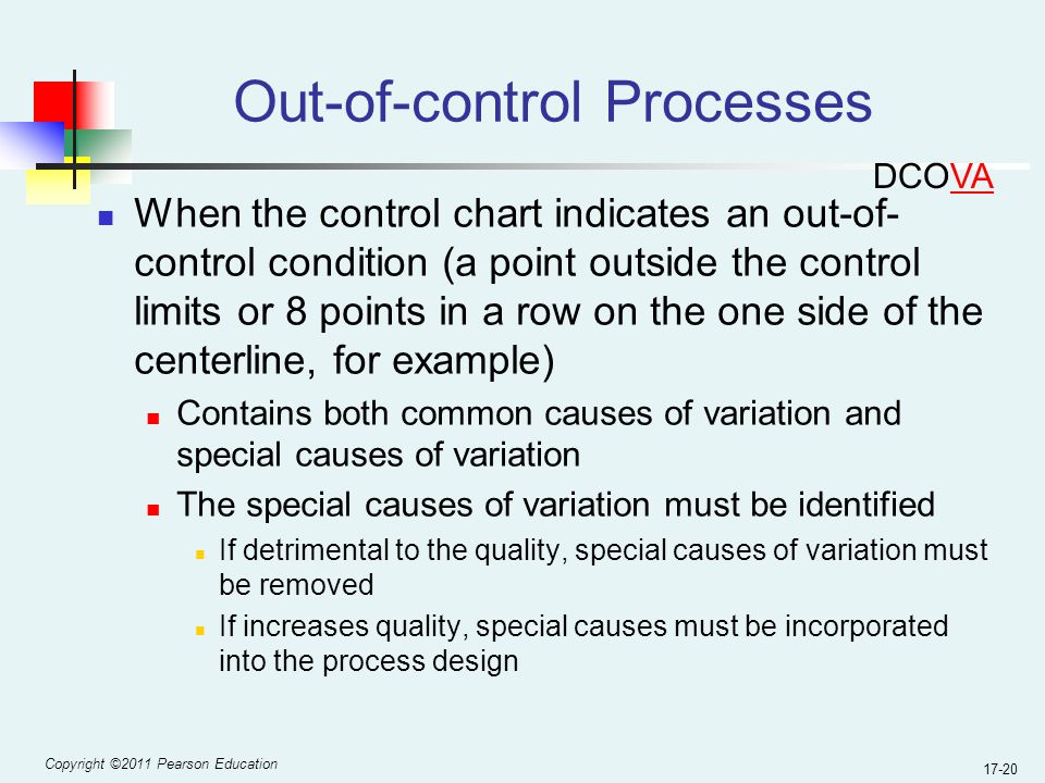 Copyright ©2011 Pearson Education 17-20 Out-of-control Processes When the control chart indicates an out-of- control condition (a point outside the control limits or 8 points in a row on the one side of the centerline, for example) Contains both common causes of variation and special causes of variation The special causes of variation must be identified If detrimental to the quality, special causes of variation must be removed If increases quality, special causes must be incorporated into the process design DCOVA