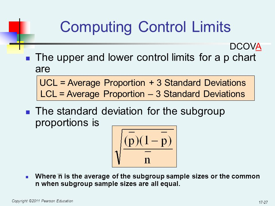 Copyright ©2011 Pearson Education 17-27 Computing Control Limits The upper and lower control limits for a p chart are The standard deviation for the subgroup proportions is Where n is the average of the subgroup sample sizes or the common n when subgroup sample sizes are all equal.