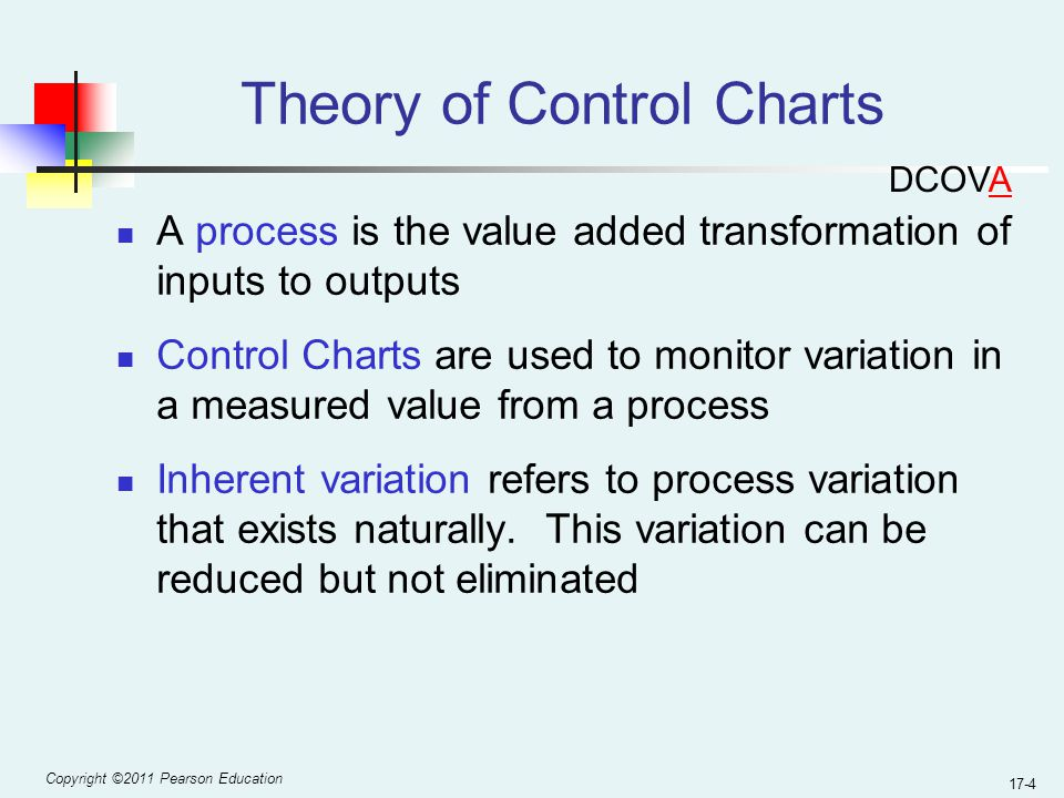 Copyright ©2011 Pearson Education 17-4 Theory of Control Charts A process is the value added transformation of inputs to outputs Control Charts are used to monitor variation in a measured value from a process Inherent variation refers to process variation that exists naturally.
