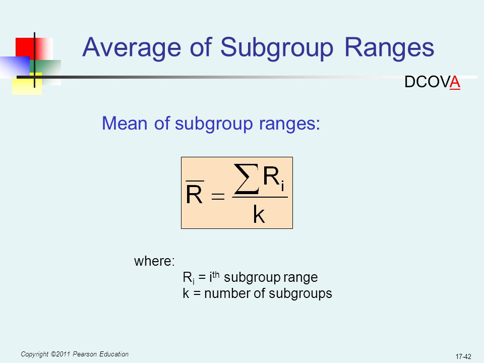 Copyright ©2011 Pearson Education 17-42 Average of Subgroup Ranges Mean of subgroup ranges: where: R i = i th subgroup range k = number of subgroups DCOVA