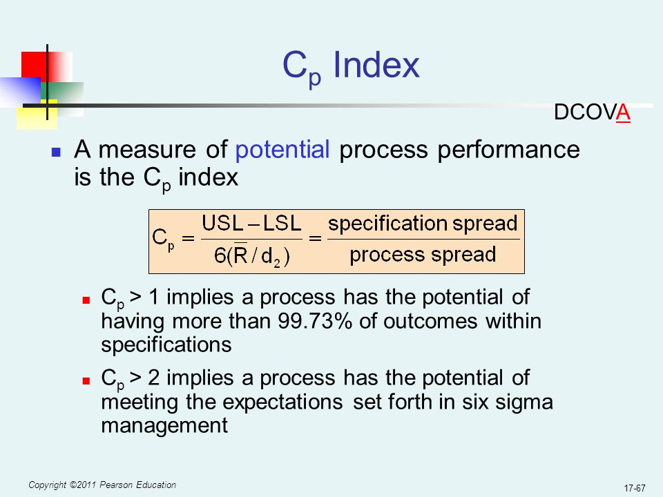 Copyright ©2011 Pearson Education 17-67 C p Index A measure of potential process performance is the C p index C p > 1 implies a process has the potential of having more than 99.73% of outcomes within specifications C p > 2 implies a process has the potential of meeting the expectations set forth in six sigma management DCOVA