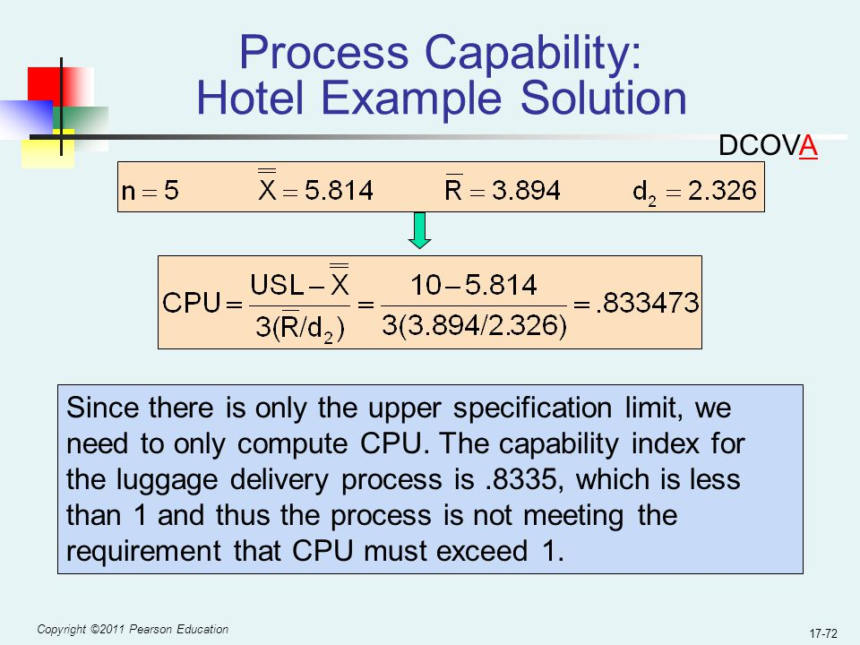 Copyright ©2011 Pearson Education 17-72 Process Capability: Hotel Example Solution Since there is only the upper specification limit, we need to only compute CPU.