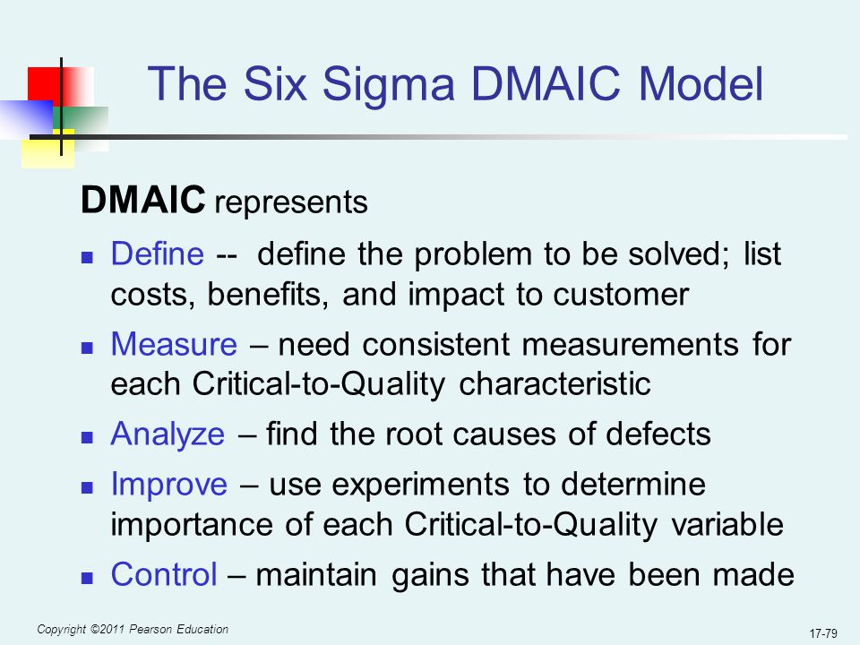 Copyright ©2011 Pearson Education 17-79 The Six Sigma DMAIC Model DMAIC represents Define -- define the problem to be solved; list costs, benefits, and impact to customer Measure – need consistent measurements for each Critical-to-Quality characteristic Analyze – find the root causes of defects Improve – use experiments to determine importance of each Critical-to-Quality variable Control – maintain gains that have been made