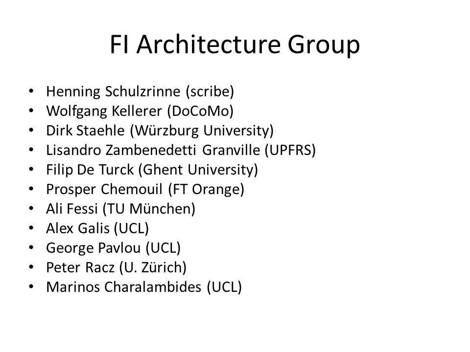 FI Architecture Group Henning Schulzrinne (scribe) Wolfgang Kellerer (DoCoMo) Dirk Staehle (Würzburg University) Lisandro Zambenedetti Granville (UPFRS) Filip De Turck (Ghent University) Prosper Chemouil (FT Orange) Ali Fessi (TU München) Alex Galis (UCL) George Pavlou (UCL) Peter Racz (U.