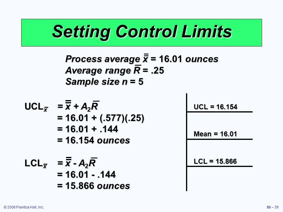© 2006 Prentice Hall, Inc.S6 – 31 Setting Control Limits UCL x = x + A 2 R = 16.01 + (.577)(.25) = 16.01 +.144 = 16.154 ounces LCL x = x - A 2 R = 16.01 -.144 = 15.866 ounces Process average x = 16.01 ounces Average range R =.25 Sample size n = 5 UCL = 16.154 Mean = 16.01 LCL = 15.866