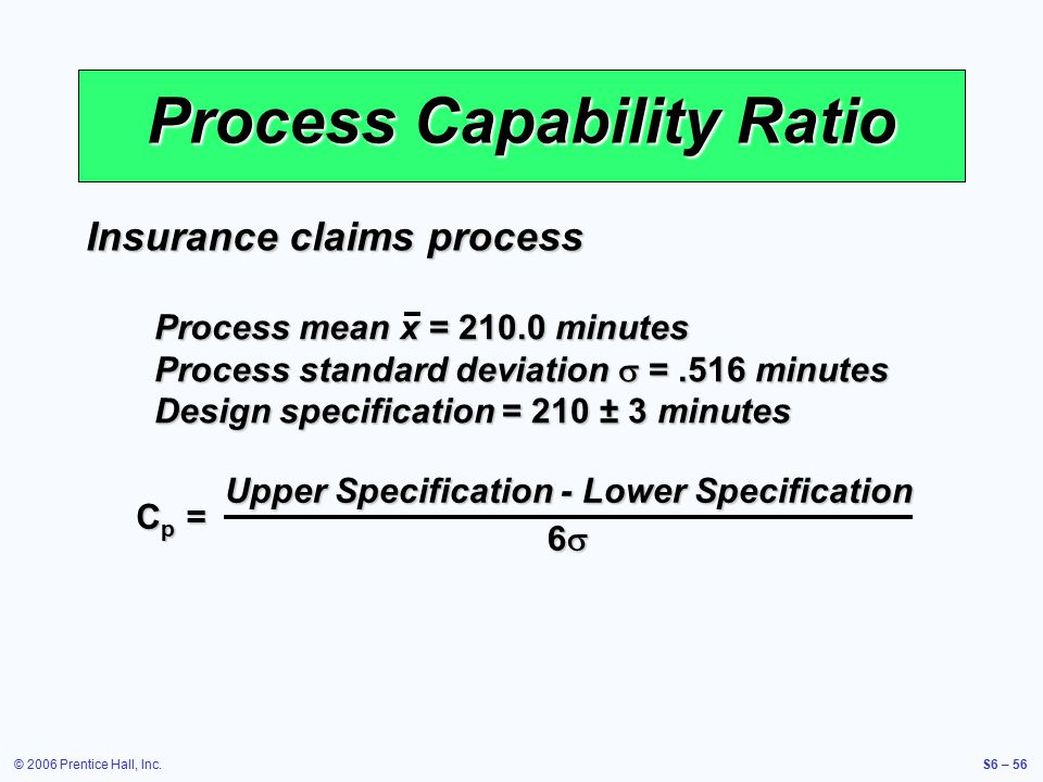 © 2006 Prentice Hall, Inc.S6 – 56 Process Capability Ratio Cp =Cp =Cp =Cp = Upper Specification - Lower Specification 6  Insurance claims process Process mean x = 210.0 minutes Process standard deviation  =.516 minutes Design specification = 210 ± 3 minutes