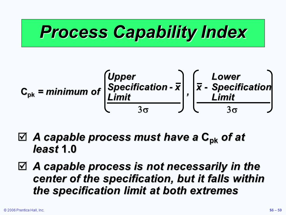 © 2006 Prentice Hall, Inc.S6 – 59 Process Capability Index  A capable process must have a C pk of at least 1.0  A capable process is not necessarily