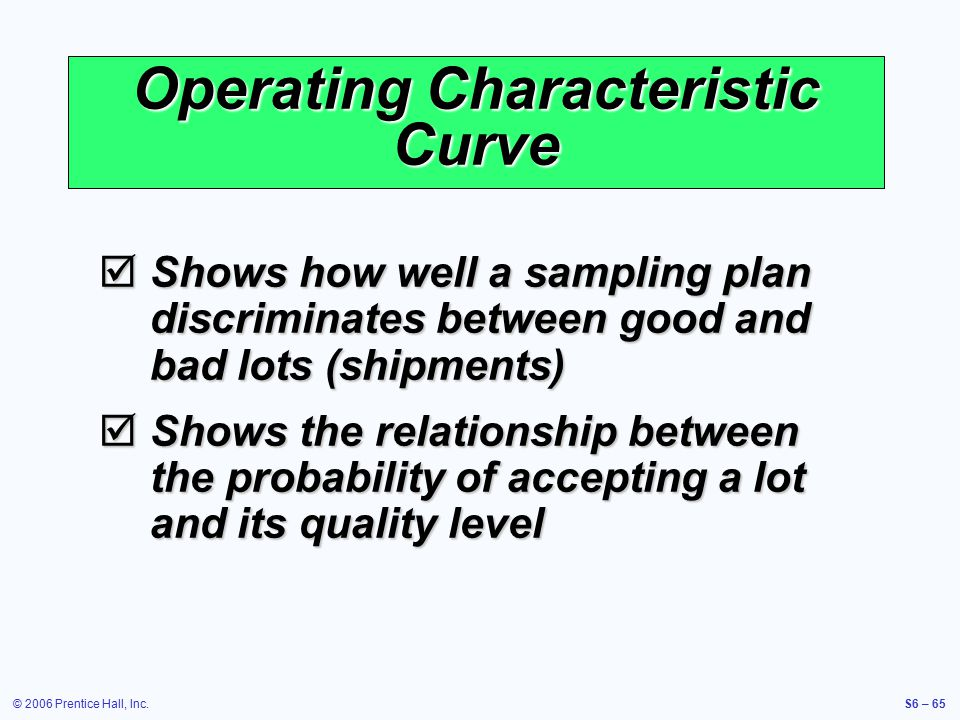 © 2006 Prentice Hall, Inc.S6 – 65 Operating Characteristic Curve  Shows how well a sampling plan discriminates between good and bad lots (shipments)