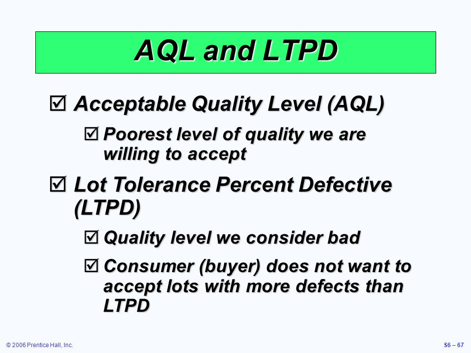 © 2006 Prentice Hall, Inc.S6 – 67 AQL and LTPD  Acceptable Quality Level (AQL)  Poorest level of quality we are willing to accept  Lot Tolerance Pe