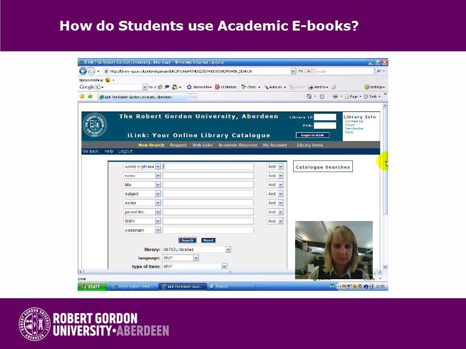How do Students use Academic E-books