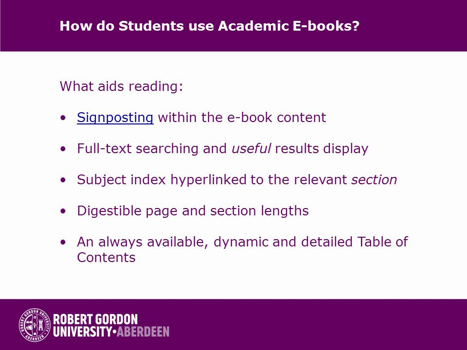 How do Students use Academic E-books.