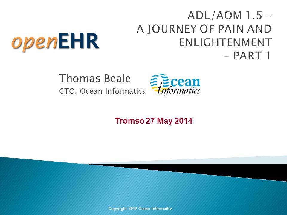 Thomas Beale CTO, Ocean Informatics Copyright 2012 Ocean Informatics Tromso 27 May 2014