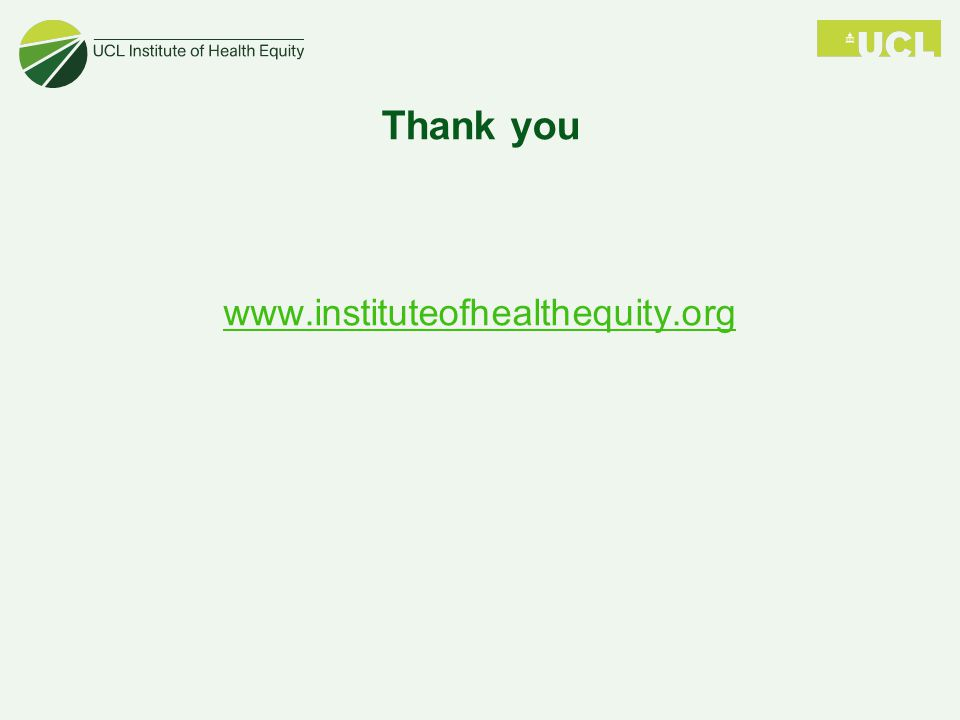 Thank you www.instituteofhealthequity.org
