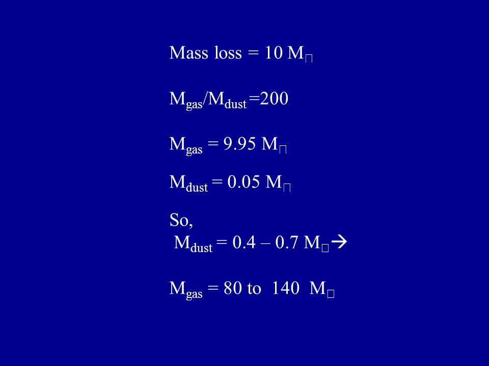 Mass loss = 10 M ☉ M gas /M dust =200 M gas = 9.95 M ☉ M dust = 0.05 M ☉ So, M dust = 0.4 – 0.7 M ☉  M gas = 80 to 140 M ☉