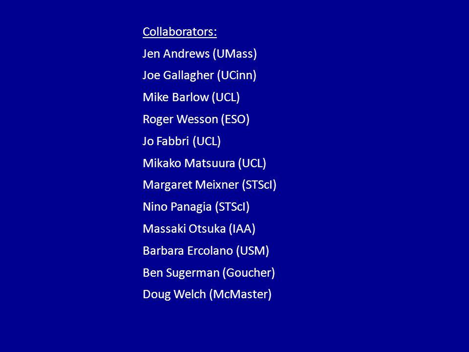 Collaborators: Jen Andrews (UMass) Joe Gallagher (UCinn) Mike Barlow (UCL) Roger Wesson (ESO) Jo Fabbri (UCL) Mikako Matsuura (UCL) Margaret Meixner (STScI) Nino Panagia (STScI) Massaki Otsuka (IAA) Barbara Ercolano (USM) Ben Sugerman (Goucher) Doug Welch (McMaster)