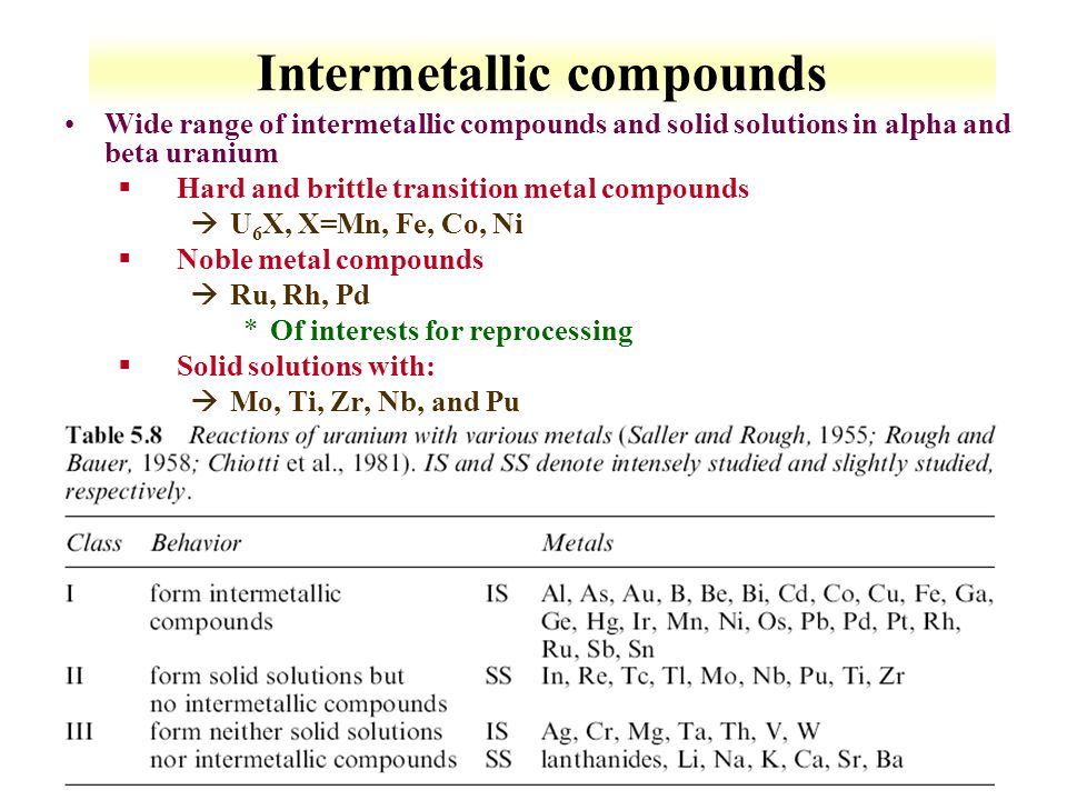 6-13 Intermetallic compounds Wide range of intermetallic compounds and solid solutions in alpha and beta uranium §Hard and brittle transition metal co