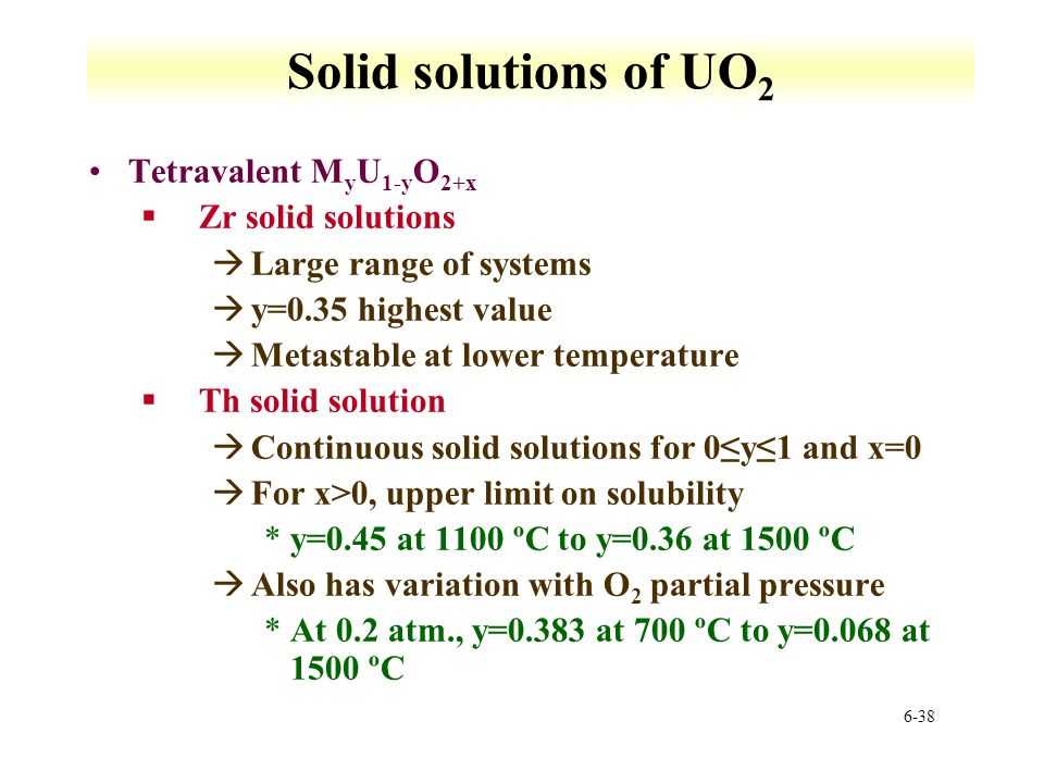 6-38 Solid solutions of UO 2 Tetravalent M y U 1-y O 2+x §Zr solid solutions àLarge range of systems ày=0.35 highest value àMetastable at lower temper
