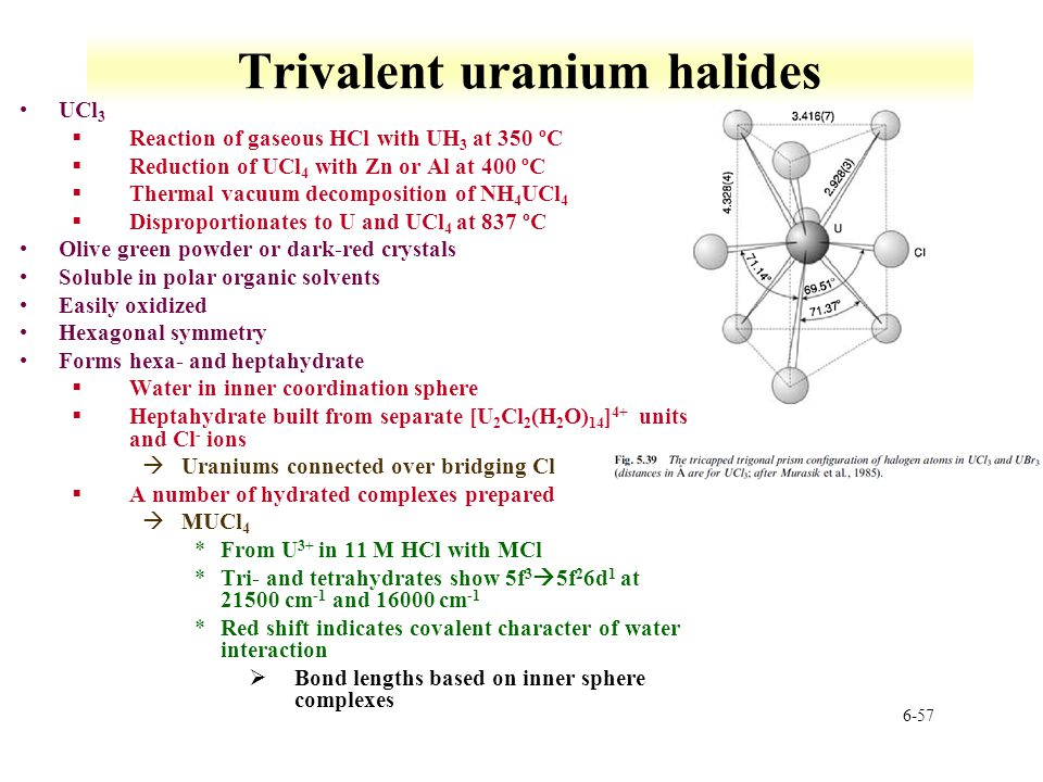 6-57 Trivalent uranium halides UCl 3 §Reaction of gaseous HCl with UH 3 at 350 ºC §Reduction of UCl 4 with Zn or Al at 400 ºC §Thermal vacuum decompos