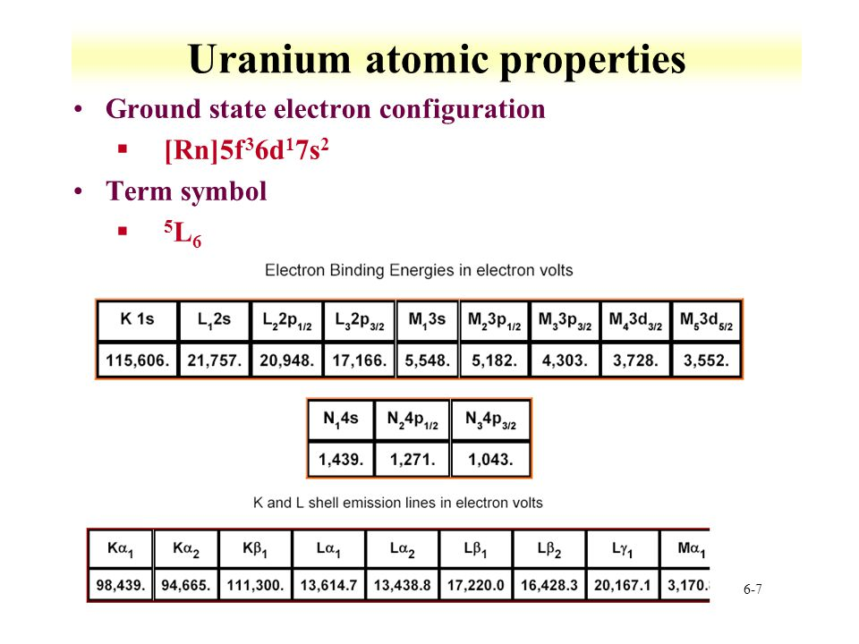 6-88 Uranium solution chemistry Tetravalent uranium §Forms in very strong acid àRequires >0.5 M acid to prevent hydrolysis àElectrolysis of U(VI) solutions *Complexation can drive oxidation §Coordination studied by XAFS àCoordination number 9±1 *Not well defined àU-O distance 2.42 Å §O exchange examined by NMR Pentavalent uranium §Extremely narrow range of existence §Prepared by reduction of UO 2 2+ with Zn or H 2 or dissolution of UCl 5 in water §UV-irradiation of 0.5 M 2-propanol-0.2 M LiClO 4 with U(VI) between pH 1.7 and 2.7 àU(V) is not stable but slowly oxidizes under suitable conditions §No experimental information on structure §Quantum mechanical predictions