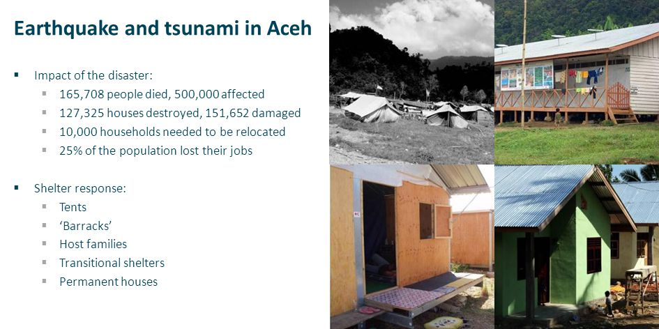 Earthquake and tsunami in Aceh  Impact of the disaster:  165,708 people died, 500,000 affected  127,325 houses destroyed, 151,652 damaged  10,000 households needed to be relocated  25% of the population lost their jobs  Shelter response:  Tents  'Barracks'  Host families  Transitional shelters  Permanent houses