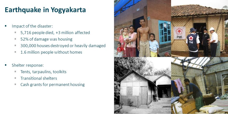 Earthquake in Yogyakarta  Impact of the disaster:  5,716 people died, +3 million affected  52% of damage was housing  300,000 houses destroyed or heavily damaged  1.6 million people without homes  Shelter response:  Tents, tarpaulins, toolkits  Transitional shelters  Cash grants for permanent housing