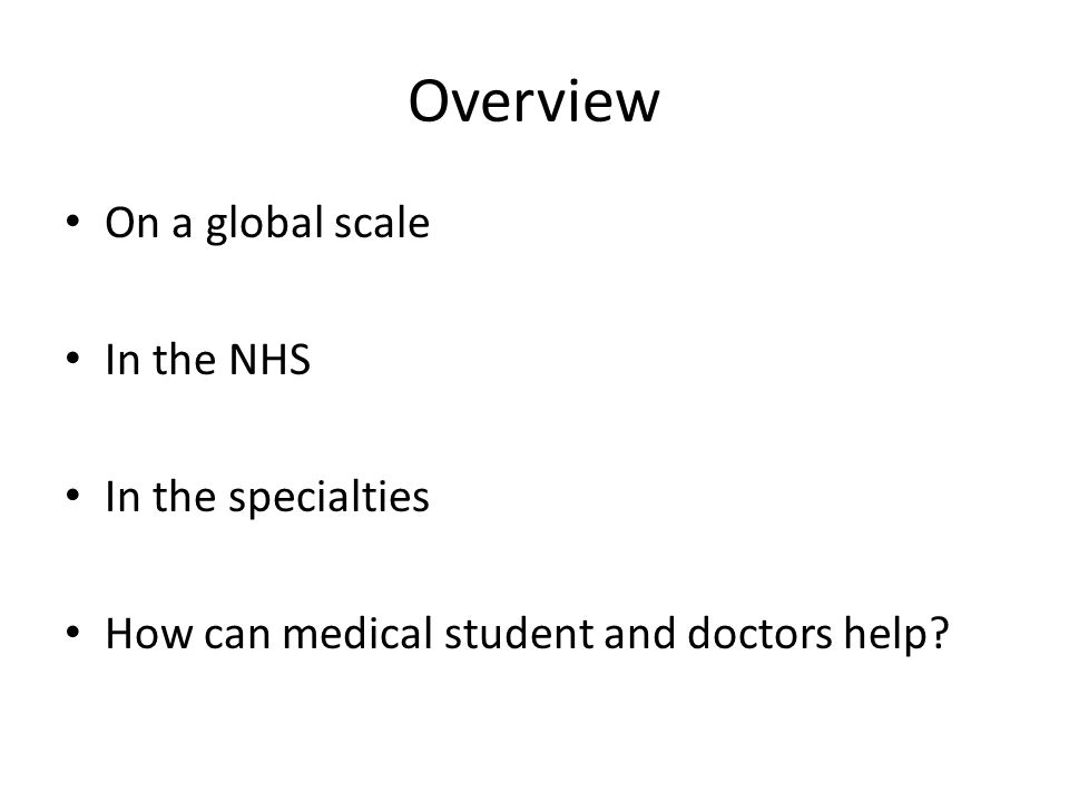 Overview On a global scale In the NHS In the specialties How can medical student and doctors help