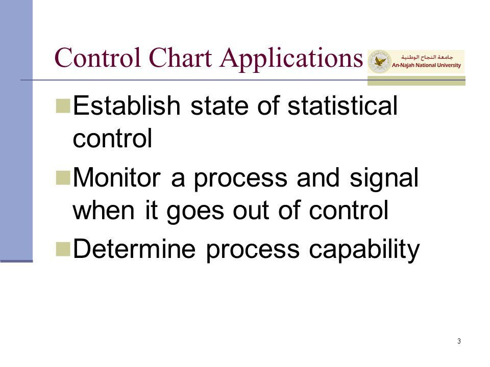 Control Chart Applications Establish state of statistical control Monitor a process and signal when it goes out of control Determine process capabilit