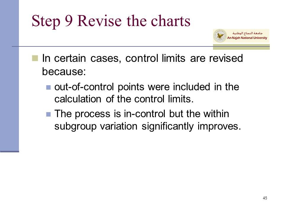 Step 9 Revise the charts In certain cases, control limits are revised because: out-of-control points were included in the calculation of the control l