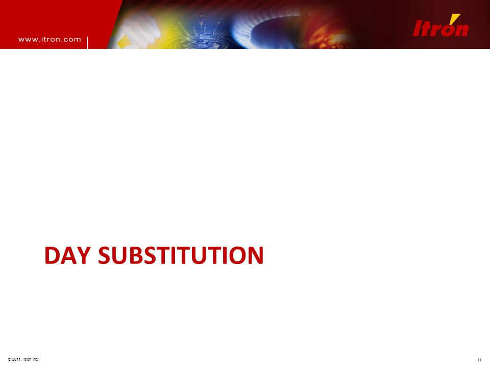 © 2011, Itron Inc. 11 DAY SUBSTITUTION