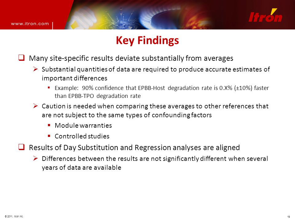 © 2011, Itron Inc. 19 Key Findings  Many site-specific results deviate substantially from averages  Substantial quantities of data are required to p