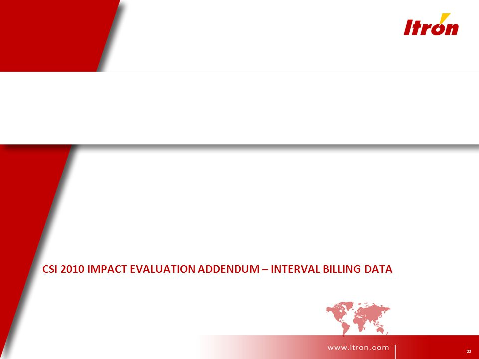 33 CSI 2010 IMPACT EVALUATION ADDENDUM – INTERVAL BILLING DATA