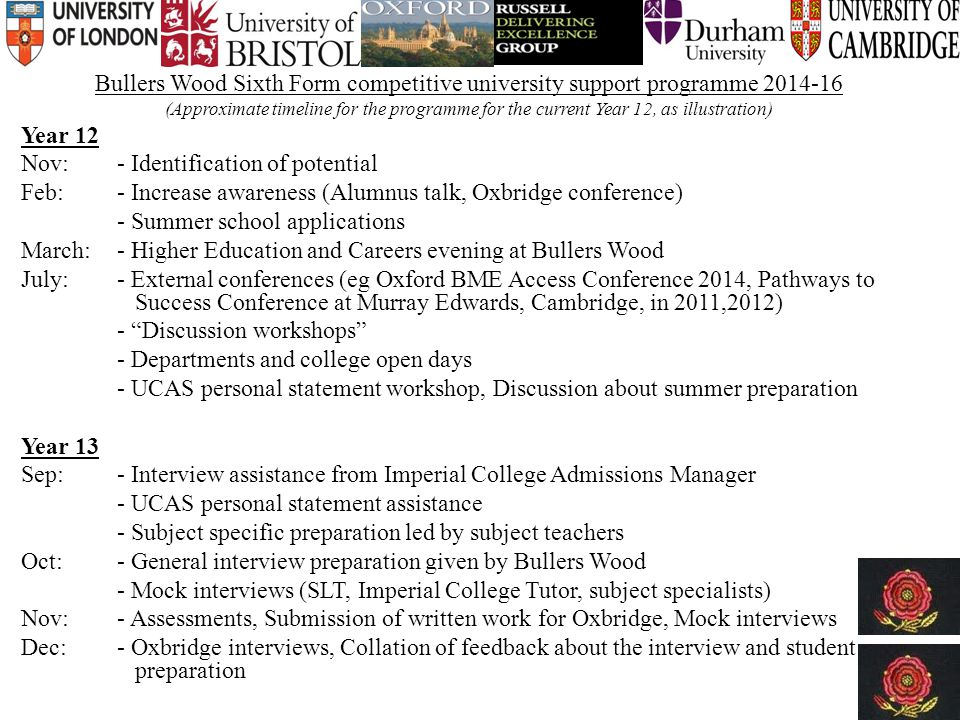Bullers Wood Sixth Form competitive university support programme 2014-16 (Approximate timeline for the programme for the current Year 12, as illustration) Year 12 Nov: - Identification of potential Feb: - Increase awareness (Alumnus talk, Oxbridge conference) - Summer school applications March: - Higher Education and Careers evening at Bullers Wood July:- External conferences (eg Oxford BME Access Conference 2014, Pathways to Success Conference at Murray Edwards, Cambridge, in 2011,2012) - Discussion workshops - Departments and college open days - UCAS personal statement workshop, Discussion about summer preparation Year 13 Sep: - Interview assistance from Imperial College Admissions Manager - UCAS personal statement assistance - Subject specific preparation led by subject teachers Oct:- General interview preparation given by Bullers Wood - Mock interviews (SLT, Imperial College Tutor, subject specialists) Nov:- Assessments, Submission of written work for Oxbridge, Mock interviews Dec: - Oxbridge interviews, Collation of feedback about the interview and student preparation