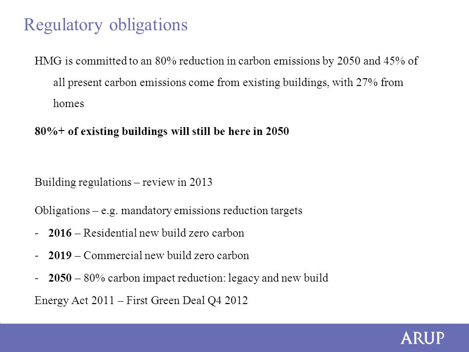 Regulatory obligations HMG is committed to an 80% reduction in carbon emissions by 2050 and 45% of all present carbon emissions come from existing buildings, with 27% from homes 80%+ of existing buildings will still be here in 2050 Building regulations – review in 2013 Obligations – e.g.