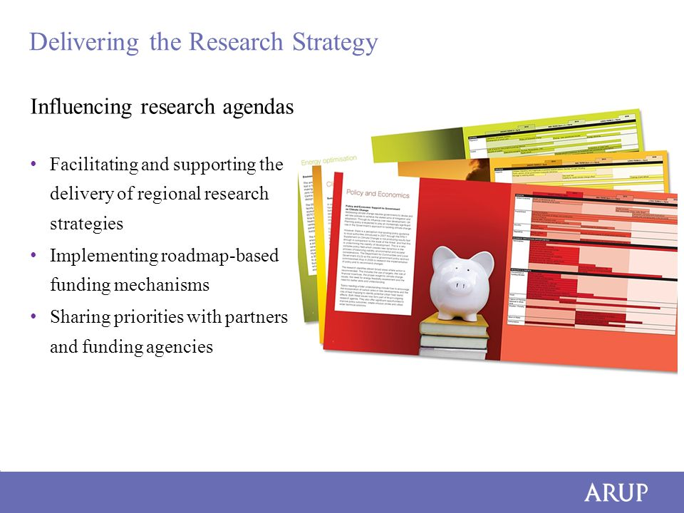 Delivering the Research Strategy Influencing research agendas Facilitating and supporting the delivery of regional research strategies Implementing roadmap-based funding mechanisms Sharing priorities with partners and funding agencies