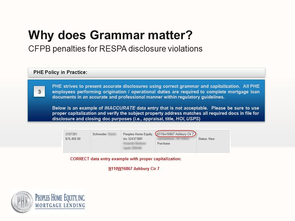 CFPB penalties for RESPA disclosure violations Why does Grammar matter.