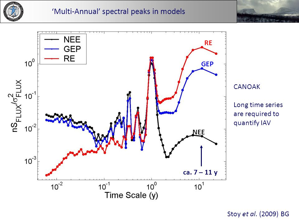 'Multi-Annual' spectral peaks in models CANOAK Long time series are required to quantify IAV RE GEP NEE ca. 7 – 11 y Stoy et al. (2009) BG