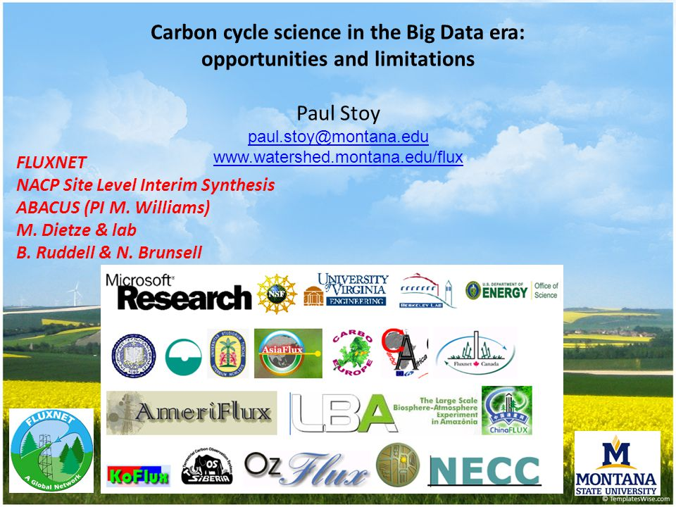 FLUXNET NACP Site Level Interim Synthesis ABACUS (PI M. Williams) M. Dietze & lab B. Ruddell & N. Brunsell Carbon cycle science in the Big Data era: o