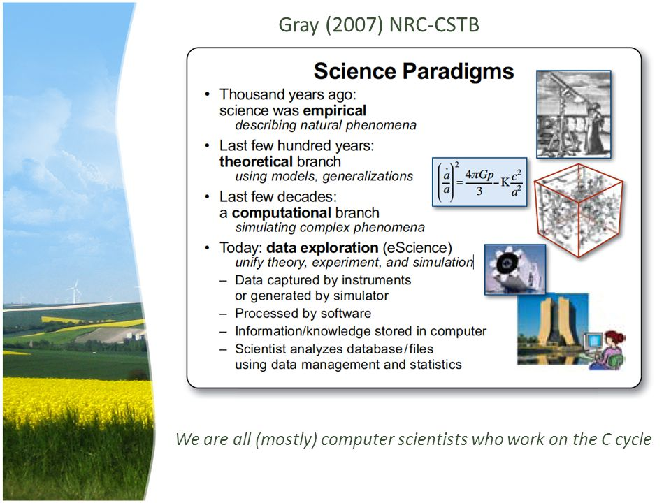 Gray (2007) NRC-CSTB We are all (mostly) computer scientists who work on the C cycle