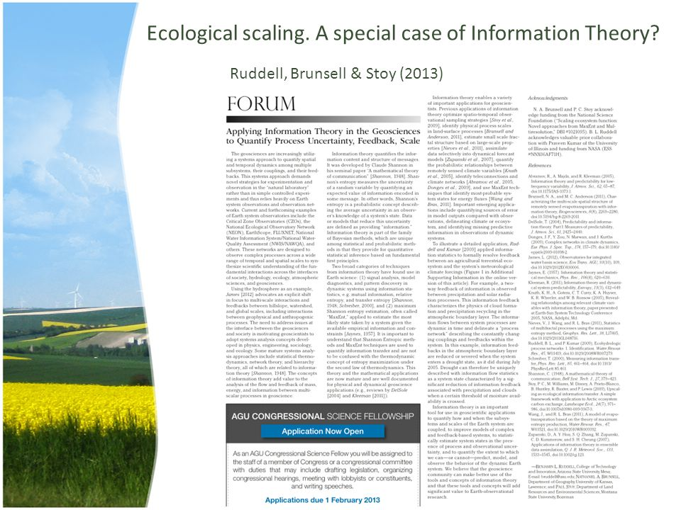 Ecological scaling. A special case of Information Theory? Ruddell, Brunsell & Stoy (2013)