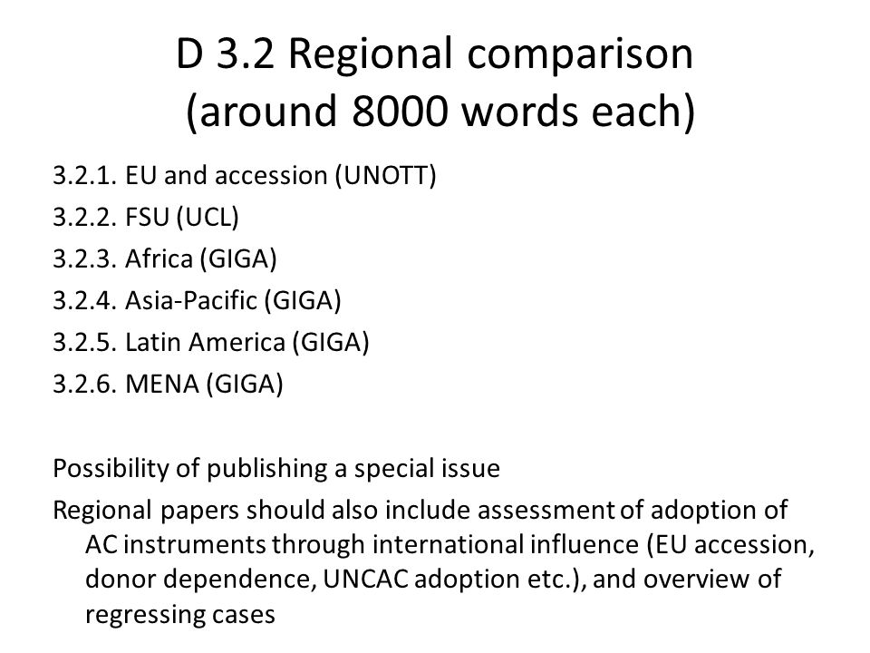 D 3.2 Regional comparison (around 8000 words each) 3.2.1.
