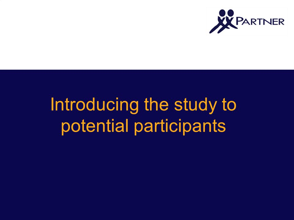 Introducing the study to potential participants