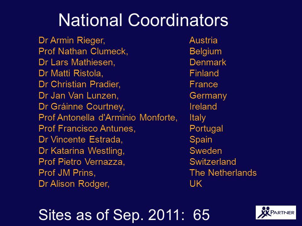 National Coordinators Dr Armin Rieger, Austria Prof Nathan Clumeck, Belgium Dr Lars Mathiesen, Denmark Dr Matti Ristola, Finland Dr Christian Pradier,